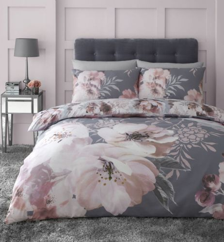Catherine Lansfield Dramatic Floral Grey Bedding Set